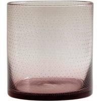 BUBBLE lysestage/vase i glas - h16 cm - lilla