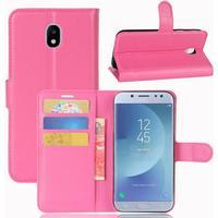 Samsung Galaxy J3 (2017) PU læder Flipcover m. Kortholder - Pink