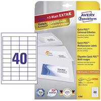 Avery-Zweckform 4780 Etiketter 48.5 x 25.4 mm Papir Hvid 1200 stk Permanent Universal-etiketter Bläck, Laser, Kopi 30 Sheet DIN A4