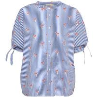 Soaked in Luxury Lala Shirt Blue Striped Flamingo