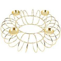 Stor rund guld lysestage til fyrfadslys på 36cm i diameter