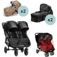 Baby Jogger City Mini GT Double - Sort + 2x Kompakt Pram, 2x Regnslag til Pram og Regnslag, +10 på lager