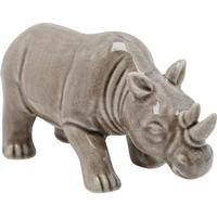 M&Co Home grey glaze cermaic rhino ornament  - Grey