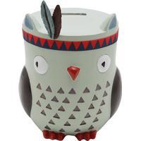 M&Co Homeware indian owl design resin money box  - Blue