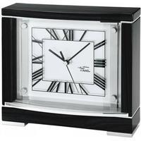 AMS 5111Q Tischuhr Quarz analog schwarz weiß eckig mit Glas