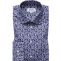 Eton Palm Print Poplin Shirt Blue