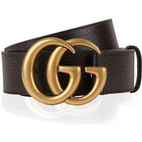 Gucci Double G Buckle Leather Belt Dark Brown