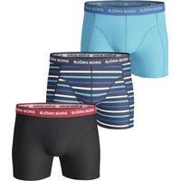 Björn Borg Stripe Essential Shorts 3-pack Black/Blue/Turqouise (1811-1119-71591)