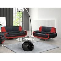 XL-Møbler SAMANTHA sofagruppe Sort og Rød 2+3 pers.