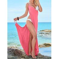 chicme Sexy Spaghetti Strap Backless Long Slim Beach Dress Cover Up