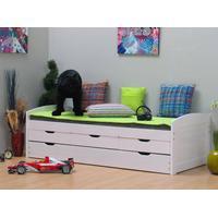 Ulli enkelsäng 90x200 med lamellbotten, 3 små och 1 stor låda för förvaring eller gästsäng, vit.