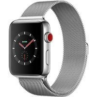 AppleWatch Series3 GPS + Cellular, 42mm Silver Stainless Steel Case with Silver Milanese Loop Band