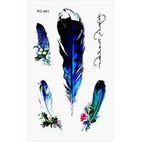 Elegant Feathers Letter Temporary Tattoo