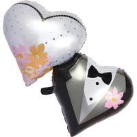 Folienballon Brautpaar-Herzen