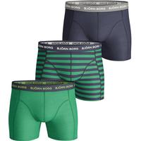 Björn Borg Stripe Essential Shorts 3-pack - Green/Navy