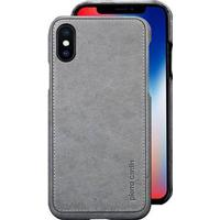Pierre Cardin Læder Dækket iPhone X Cover - Grå