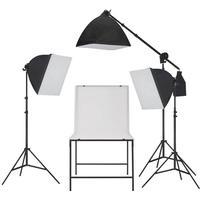 vidaXL fotostudieudstyr softbox lampesæt med fotobord