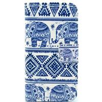 iPhone 4 / 4S Flip Cover m. Stand og Kortholder - Tribal Elefant