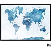 Plakat - Verdenskort - Effekt, blå