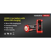 Klarus 700mAh 16340 (PCB + Micro-USB) Batteri