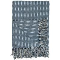Plaid/tæppe støvblå m creme firkant