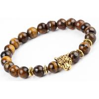 Armband Natursten Tigeröga Guldfärgad Leopard