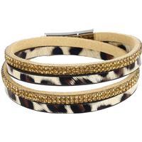 Fashion Jewelry Punk Style Wrap Bracelets Long Leather Leopard Crystal Irregular Pattern Bracelets for Woman