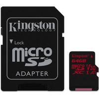 Kingston Canvas React microSDXC Class 10 UHS-I U3 V30 A1 100/80MB/s 64GB +Adapter
