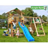Jungle Gym Chalet Playtower with Climb Module & 1 Swing