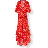 Ganni Silvery Crepe Wrap Dress - Big Apple Red