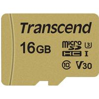 Transcend 500S microSDHC Class 10 UHS-I U3 V30 95/60MB/s 16GB +Adapter
