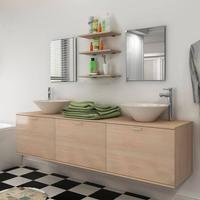 vidaXL sæt med badeværelsesmøbler m/håndvask+vandhane 10 dele beige