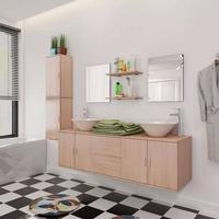 vidaXL sæt med badeværelsesmøbler m/håndvask+vandhane 11 dele beige