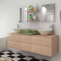 vidaXL sæt med badeværelsesmøbler m/håndvask + vandhane 9 dele beige