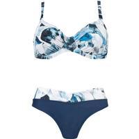 Naturana Bikini Top m/ Bøjle + Trusse Marine & print