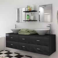 vidaXL sæt med badeværelsesmøbler m/håndvask + vandhane 9 dele sort
