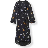 Ganni Dainty Georgette Wrap Dress - Black