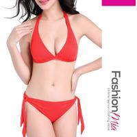 Absorbing Halter Solid Bikini In Red
