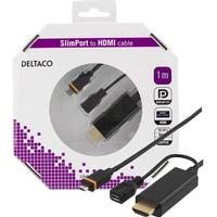 DELTACO Slimport till HDMI-kabel, USB Micro B - HDMI ha, 1m, svart