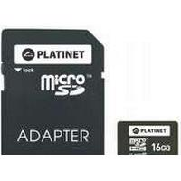Platinet 16GB MicroSDHC + Adapter SD, 16 GB, MicroSDHC, Klasse 10, Sort