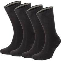 Topeco - 4-pack Mens Socks Plain Bamboo Black