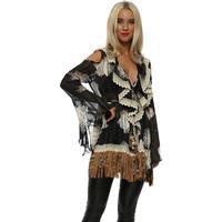 Designer Desirables Black Frilly Lace Beaded Fringe Top