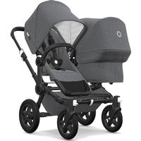 Bugaboo Donkey 2 Classic+ Duo Stroller on Black Chassis - Grey Melange