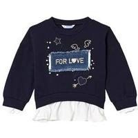 Mayoral Navy with Gold Embroidered Detail & Denim Applique Slogan Sweater 2 years