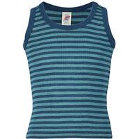 Randigt blå/turkos linne i GOTS-certifiered ull/silke från Engel - Light Ocean/Iceblue