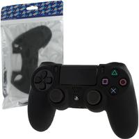 ZedLabz Controller Soft Silicone Rubber Skin Grip Cover with Ribbed Handle - Black (Playstation 4)