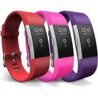 Yousave Fitbit Charge 2 Strap 3-Pack (Small) - Red/Hot Pink/Plum
