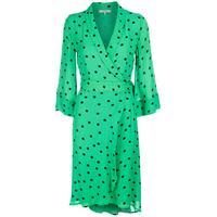Ganni Dainty Georgette Wrap Dress Classic Green