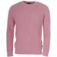 Barbour Fowey Cable Knit Crew Neck Sweater for Men in Pink