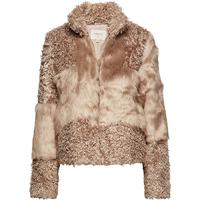Cream Cassie Fur Jacket - Simply Taupe